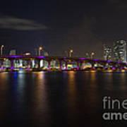Miami Night Skyline Print by Andres Leon
