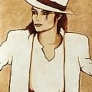 Michael Jackson Original Coffee Painting Print by Georgeta  Blanaru