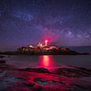 Milky Way Over Nubble Lighthouse Print by Adam Woodworth