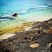 Rocks And Clear Water Abstract Print by Elena Elisseeva