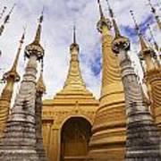 Ruined Pagodas At Shwe Inn Thein Paya Print by Chris Caldicott