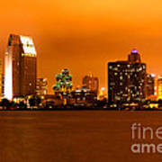 San Diego Skyline At Night Print by Paul Velgos