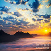 Sea Of Clouds On Sunrise With Ray Lighting Print by Setsiri Silapasuwanchai
