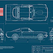 Shelby Mustang Gt350 Blueplanprint Print by Douglas Switzer