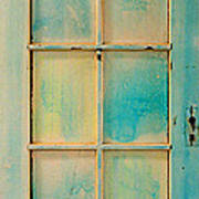 Turquoise And Pale Yellow Panel Door Print by Asha Carolyn Young
