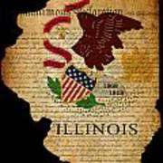 Usa American Illinois State Map Outline With Grunge Effect Flag  Print by Matthew Gibson