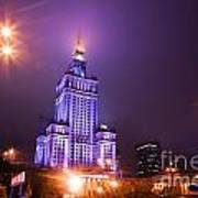 Warsaw Poland Downtown Skyline At Night Print by Michal Bednarek