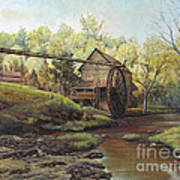 Watermill At Daybreak  Print by Mary Ellen Anderson