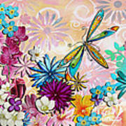 Whimsical Floral Flowers Dragonfly Art Colorful Uplifting Painting By Megan Duncanson Print by Megan Duncanson