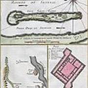 1750 Bellin Map Of The Senegal Print by Paul Fearn