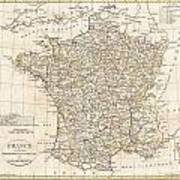 1799 Clement Cruttwell Map Of France In Departments Print by Paul Fearn