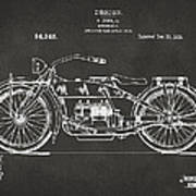 1919 Motorcycle Patent Artwork - Gray Print by Nikki Marie Smith
