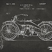 1924 Harley Motorcycle Patent Artwork - Gray Print by Nikki Marie Smith