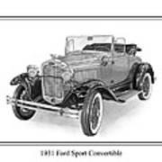 1931 Ford Convertible Print by Jack Pumphrey