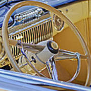 1947 Cadillac 62 Steering Wheel Print by Jill Reger