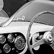 1953 Ferrari 340 Mm Lemans Spyder Steering Wheel Emblem Print by Jill Reger