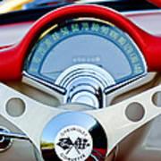 1957 Chevrolet Corvette Convertible Steering Wheel Print by Jill Reger