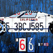 1966 Ford Gt40 License Plate Art By Design Turnpike Print by Design Turnpike