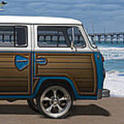 1970 Vw Bus Woody Print by Mike McGlothlen