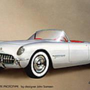 1953 Corvette Classic Vintage Sports Car Automotive Art Print by John Samsen