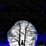 Black Cat On Tree Print by Nina Ficur Feenan