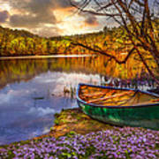 Canoe At The Lake Print by Debra and Dave Vanderlaan