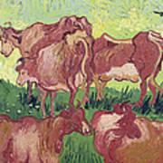 Cows Print by Vincent Van Gogh