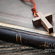 Cross On Bible Print by Elena Elisseeva