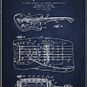 Fender Floating Tremolo Patent Drawing From 1961 - Navy Blue Print by Aged Pixel