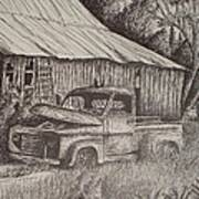 Grandpa's Old Barn With Chevy Truck Print by Chris Shepherd