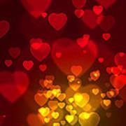 Hearts Background Print by Carlos Caetano
