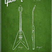 Mccarty Gibson Electric Guitar Patent Drawing From 1958 - Green Print by Aged Pixel