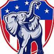 Republican Elephant Mascot Usa Flag Print by Aloysius Patrimonio
