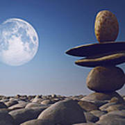 Stacked Stones In Sunlight Witt Moon Print by Aleksey Tugolukov