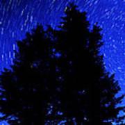 Star Trails In Night Sky Print by Lane Erickson