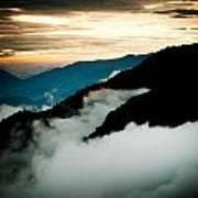 Sunset Himalayas Mountain Nepal Panaramic View Print by Raimond Klavins