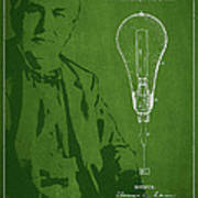 Thomas Edison Incandescent Lamp Patent Drawing From 1890 Print by Aged Pixel