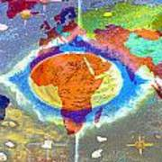 World Map And Barack Obama Stars Print by Augusta Stylianou