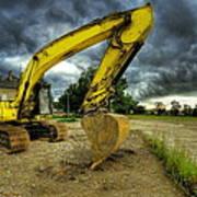 Yellow Excavator Print by Jaroslaw Grudzinski