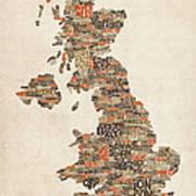 Great Britain Uk City Text Map Print by Michael Tompsett