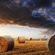 Beautiful Golden Hour Hay Bales Sunset Landscape Print by Matthew Gibson
