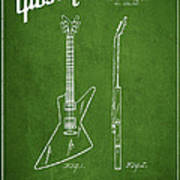 Mccarty Gibson Electrical Guitar Patent Drawing From 1958 - Green Print by Aged Pixel
