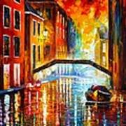 The Canals Of Venice Print by Leonid Afremov