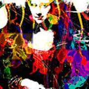 31x48 Mona Lisa Screwed - Huge Signed Art Abstract Paintings Modern Www.splashyartist.com Print by Robert R Splashy Art Abstract Paintings