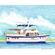 37 Foot Marine Trader 37 Trawler Yacht At Anchor Print by Jack Pumphrey