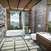 3d Tropical Bathroom Print by Thanes