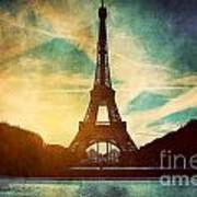 Eiffel Tower In Paris Fance In Retro Style Print by Michal Bednarek