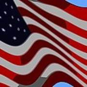 50 Star American Flag Closeup Abstract 6 Print by L Brown