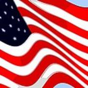50 Star American Flag Closeup Abstract 8 Print by L Brown