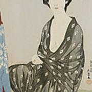 A Beauty In A Black Kimono Print by Hashiguchi